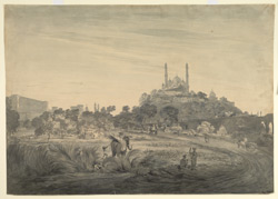 Lucknow (U.P.): the Fort of Machhi Bhawan and the Mosque of Aurangzeb, built on the Lakshman Tila mound; grass cutters by the roadside. Between March and July 1803